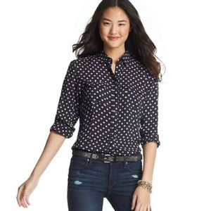 LOFT Polka Dot Long & Lean Button Down Shirt